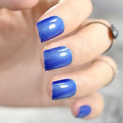 EchiQ - Puntas de uñas postizas redondas y cuadradas translúcidas de acrílico azul real, herramienta