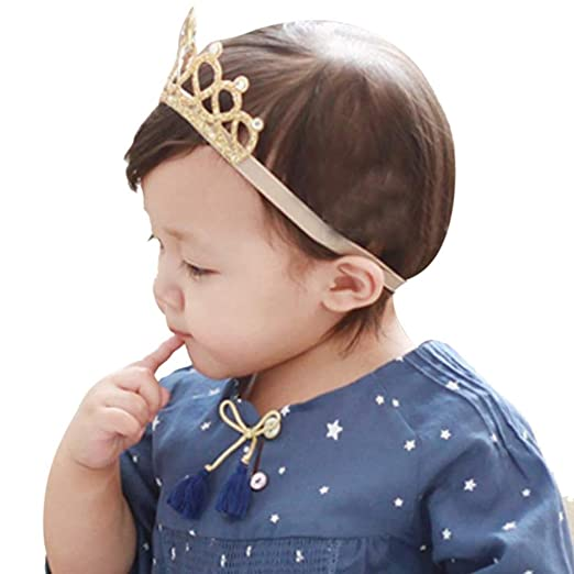 Amazon.com  DZT1968® Baby Girl Crown Headband Head Wrap Hair Band ... 152d001de3d