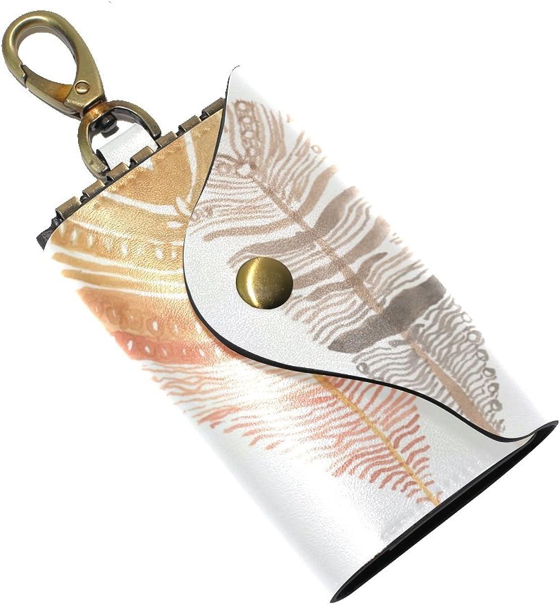 DEYYA Three Feathers Leather Key Case Wallets Unisex Keychain Key Holder with 6 Hooks Snap Closure