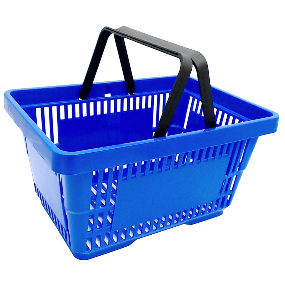 1 Einkaufskorb in blau mit zwei Tragegriffe aus Plastik 20 Liter Verkaufskörbe stapelbar gebar