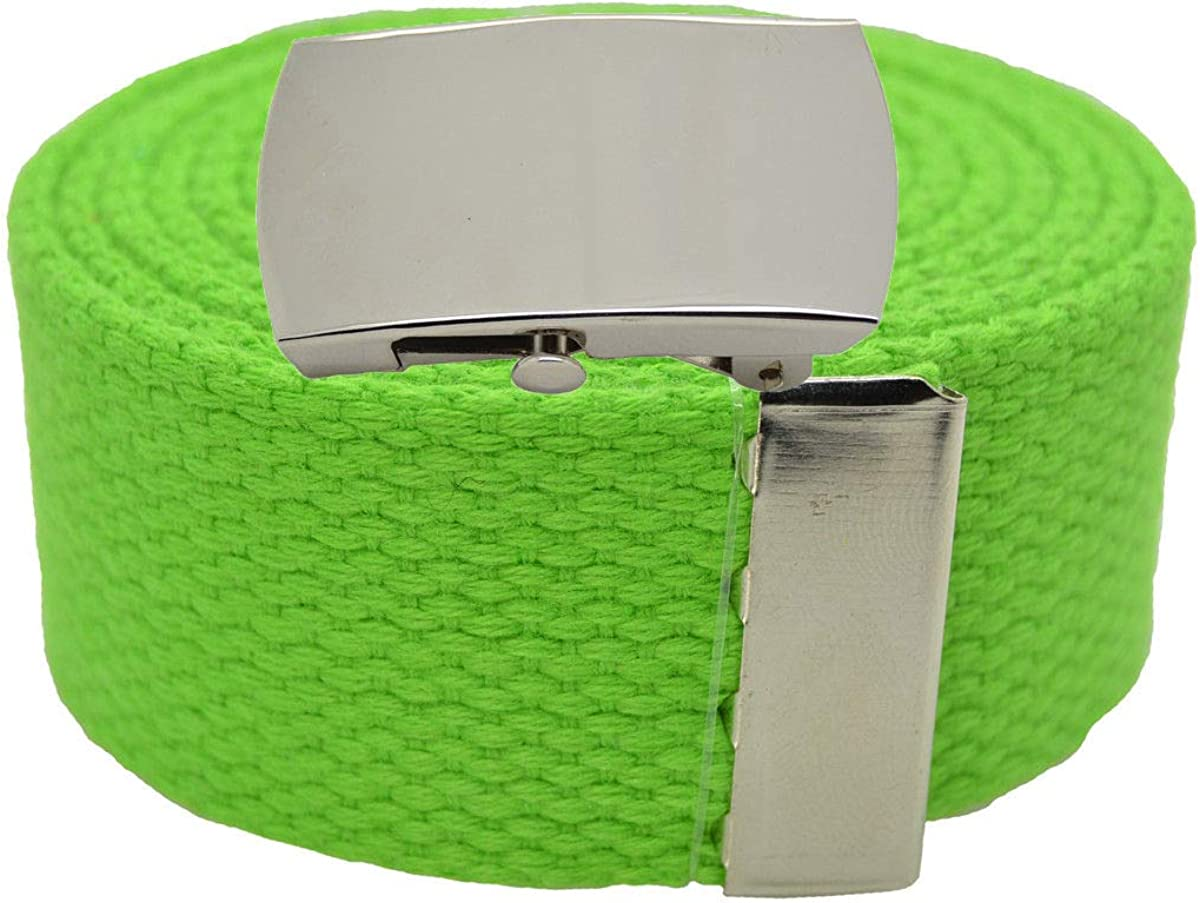 LIME #AAAS Top Quality Canvas Military Web Belt /& BIGPlain Silver Buckle 54
