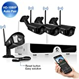 2MP HD Wireless Security Camera System JOOAN 4x1080P WiFi Outdoor Network IP Cam CCTV Video Surveillance System Remote Monitoring Waterproof Super Night Vision with Motion Detection&Email Alarm