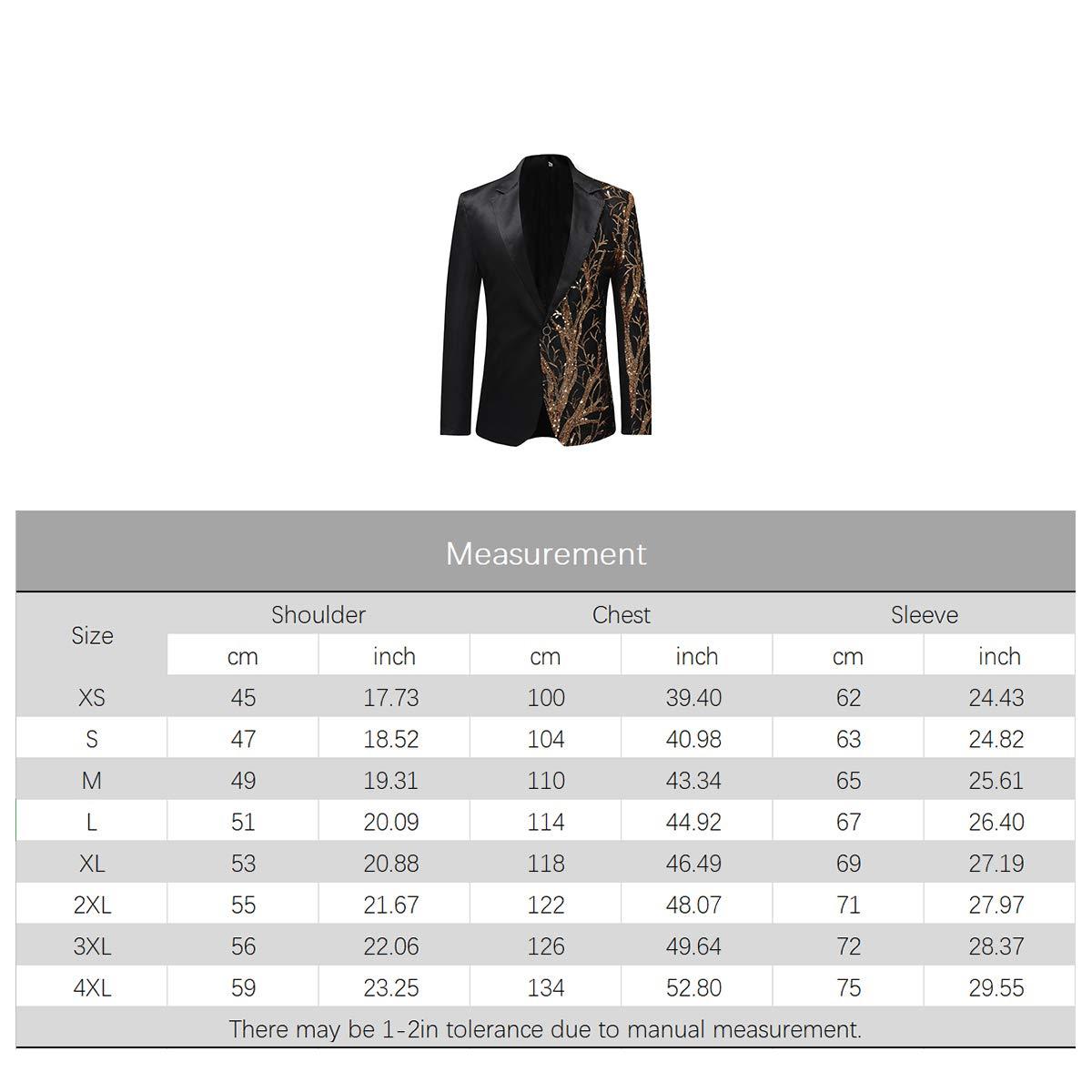 Boyland Mens Sequins Floral Suit Notched Lapel Slim Fit Stylish Blazer
