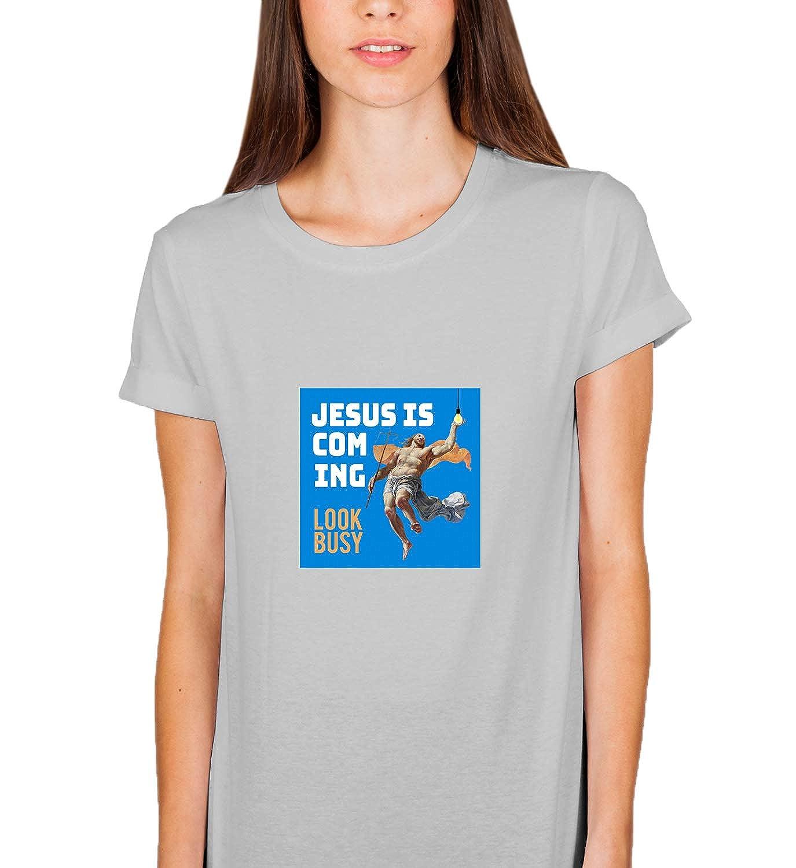 LumaShirts Funny Jesus Coming Look Busy Bulb_005773 Tshirt Shirt T-Shirt Tee Women Grey Unisex Gift Ugly Christmas Shirts-14718