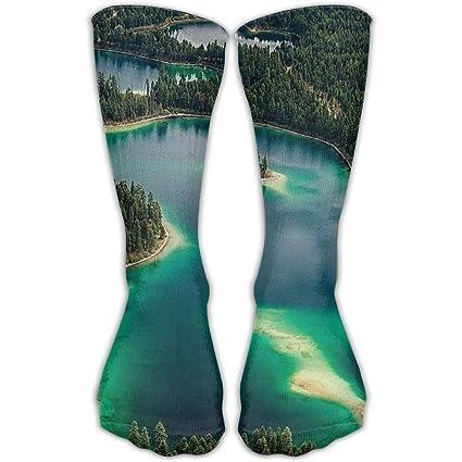 0ddfdca8682d Turquoise Lake Green Forest Women   Men Socks Soccer Sport Tube Stockings  Length 30cm
