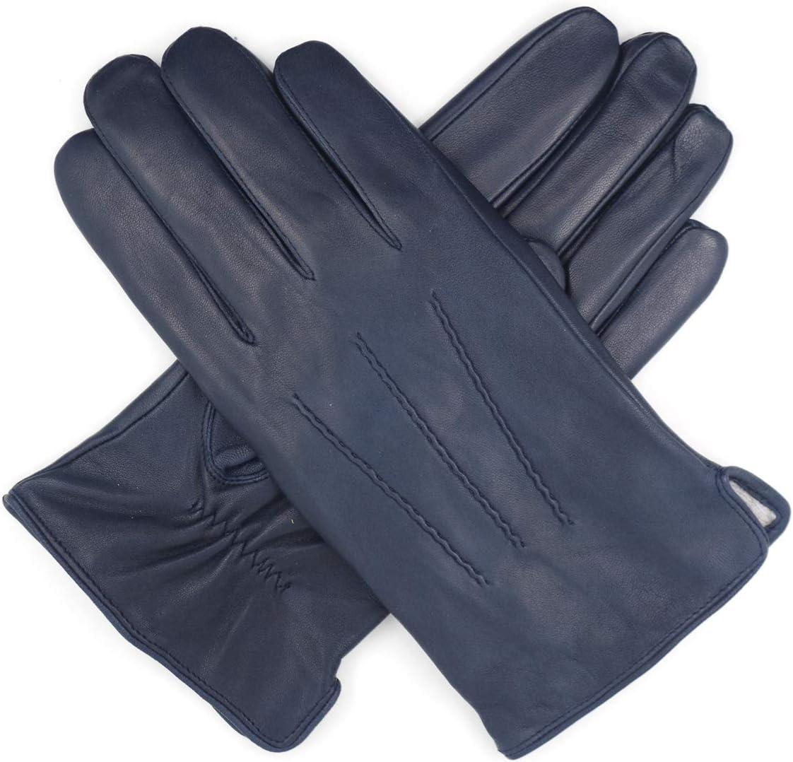 Harssidanzar Mens Luxury Italian Sheepskin Leather Gloves Vintage Finished Cashmere Lined Upgrade Brandy M