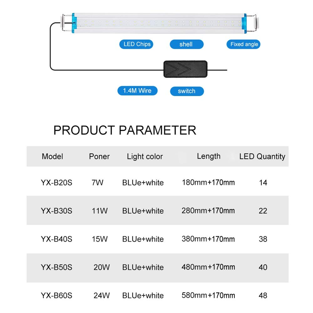 Pukido 18-58cm Super Slim Aquarium LED Lighting with Extendable Brackets High Brightness White and Blue Light LEDs Fits for Fish Tank - (Color: YX-B60S)