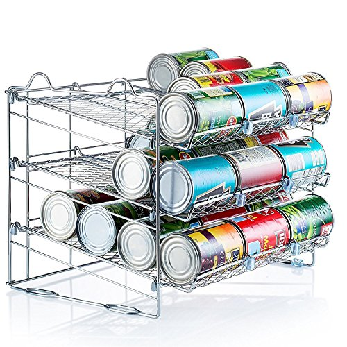 Chrome Stackable Can Organizer, Can Rack Holds up to 36 Cans, (Canned Food Storage Rack)