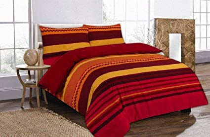 PLAIN RED Superking Size Duvet Cover and 2 x Pillow Cases Bedding Set