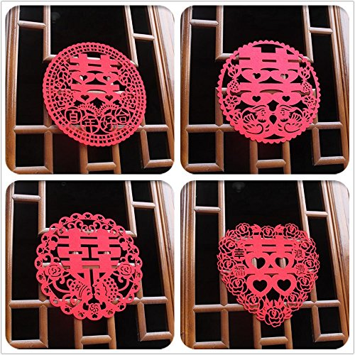 Chris-Wang 4Pairs Traditional Chinese Wedding Banquet Red Nonwovens - Chinese Wedding Decorations