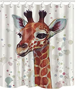NYMB Funny Watercolor Animlas Kids Waterproof Shower Curtain with Eco-Friendly Polyester Fabrics Pattern of The Giraffe's Head Measures 72x72 inches