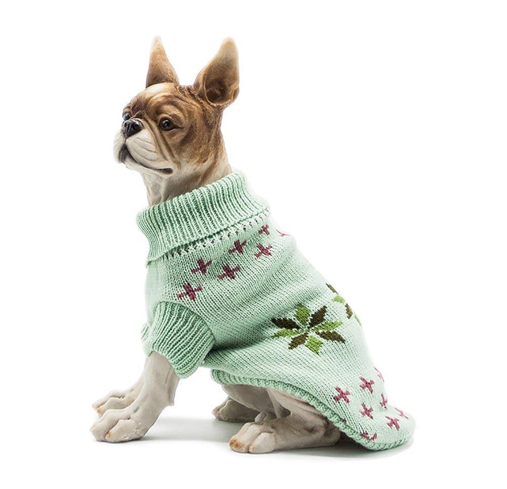 Pet suéter engrosamiento mascota de punto ropa de perrito chaleco cálido cuello alto chaqueta de abrigo clásico ropa de 3 colores 5 tamaño ( Color : Green , Size : XL )