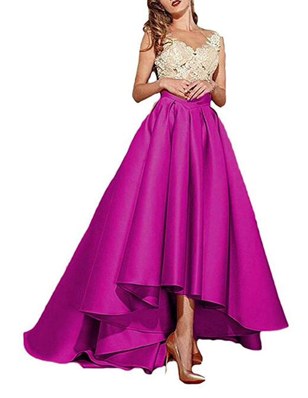 Fuchsia alilith.Z Sexy Lace Appliques Prom Dresses High Low Formal Evening Dresses Party Gowns for Women