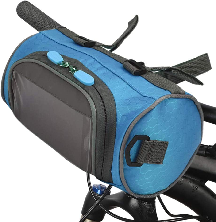 Lixada Bike Handlebar Bag,Waterproof Bike Basket Bicycle Front Storage Bag with Transparent Pouch Touch Screen and Removable Shoulder Strap for Road Bikes Mountain Bikes and Motorcycles