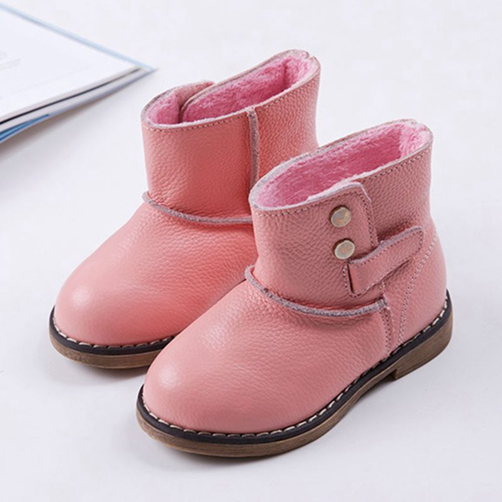 CYBLING Toddler Boys Girls Snow Boots Outdoor Waterproof Leather Pull-On Winter Kids Flat Shoes