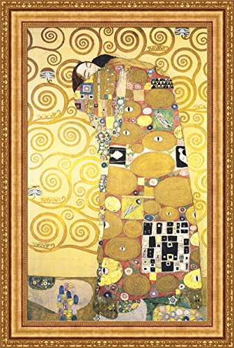 - Gustav Klimt Cartoon for the Frieze of the Villa Stoclet in Brussels Fulfillment Framed Canvas Giclee Print - Finished Size (W) 28.1'' x (H) 42.1'' [Gold] (S09-03K-MD535-01) - Enhanced Image