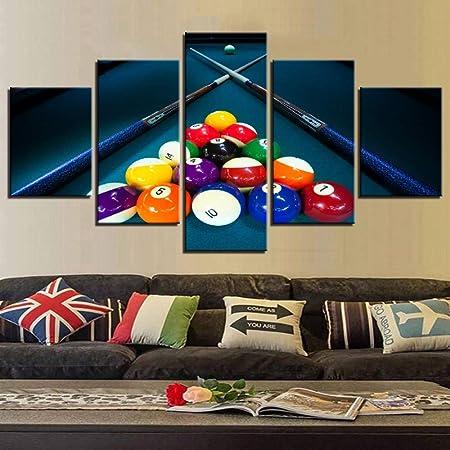 Decoración del Hogar Moderno Lona Living Room HD 5 Paneles Deportes Color Billar Imágenes Pintura Mural Modular Póster: Amazon.es: Deportes y aire libre