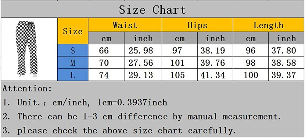 huateng Women's Sports Trousers - Contrast Checkerboard High Waist Casual Trousers Jogger Pants Black
