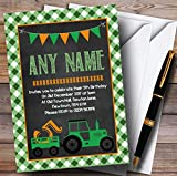 Green Country Farm Tractor Childrens Birthday Party Invitations