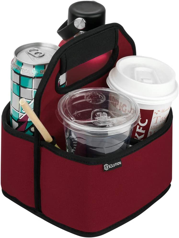 Case Star Drink Carrier Reusable Insulated Coffee Cup Carrier Water Bottle Holder in Car Lightweight Padded Beverage Holder with Adjustable dividers Fits 16-24OZ Coffee Cups, Water Bottle (Wine red)