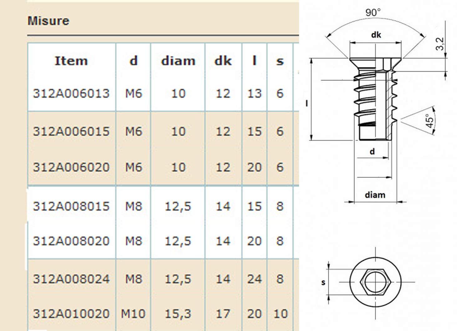 Schlagd/übel D/übel Nylon Senkkopf Schraube Nageld/übel Auswahl 5.0x30mm bis 10x100mm w/ählbar 8.0x140mm 100 St/ück