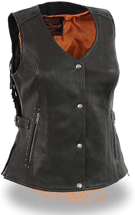 Milwaukee Womens Braided Leather Snap Front Vest Black, Medium