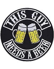 THIS GUY Needs a BEER patch bier opstrijkbaar biker patch rocker strijkplaatjes Heavy Metal Sticker Trash Metal Gift Motorcycle Driver DIY applicatie voor jas/vest/jeans/boots/motorkoffer 90 x 90 mm