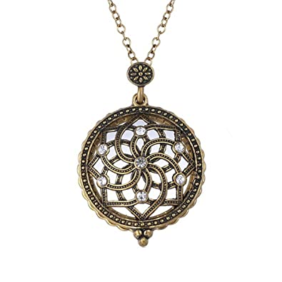 Gold plated antique design magnifying glass pendant long chain gold plated antique design magnifying glass pendant long chain necklace flower aloadofball Image collections