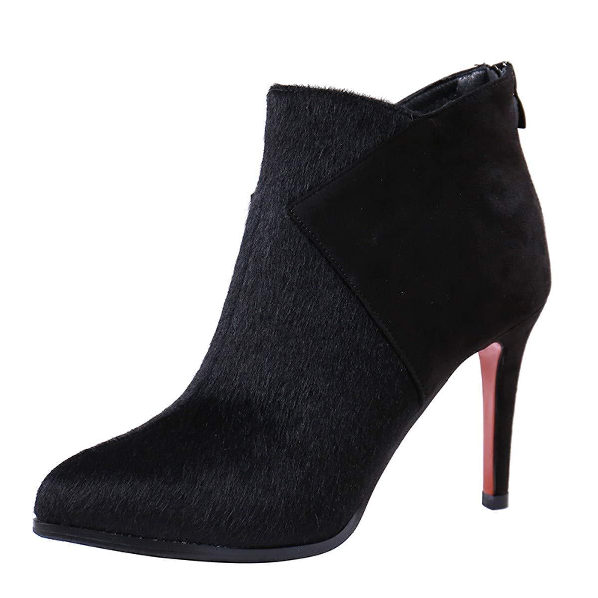 LBTSQ-Trendy Hochhackige Schuhe 10Cm Zusammenfügen Reißverschluss Kurze Stiefel Ohne Stiefel.