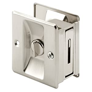 PRIME-LINE Products N 7239 Pocket Door Privacy Lock with Pull, Solid, Satin Nickel Brass