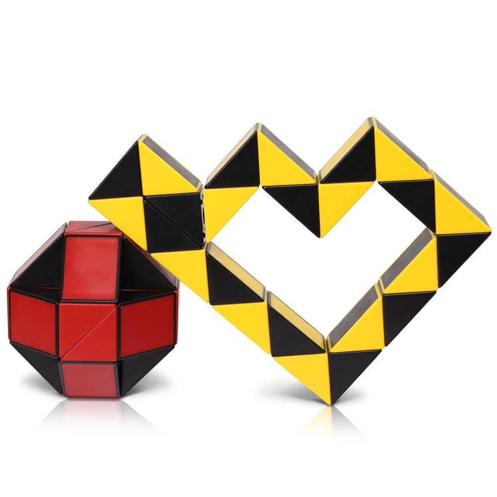 Snake Speed Cube Puzzle Fidget Cube Toy 2PCS Twisty Puzzle Twist Magic Ruler Cube Christmas Gifts Stocking Stuffers Easter Basket fillers