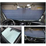 Automatic Retractable Car Windshield Sunshade, Volwco Accordion Style Aluminum Foil Car Window Sun Blinds For Compact Car, 65cm