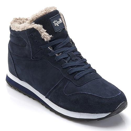 8cbdd31ea14d84 Minetom Stivaletti Invernali con Imbottitura Pelliccia Caldo Unisex Donna  Uomo Shoes Flat Inverno Sneaker Stivali da