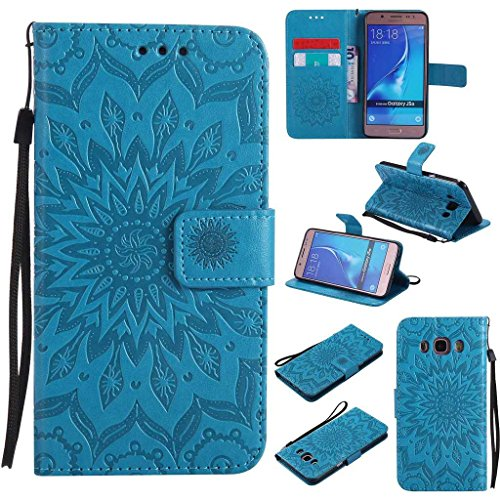 Galaxy J5 2016 Case, KKEIKO® Galaxy J5 2016 Flip Leather Case [with Free Tempered Glass Screen Protector], Shockproof Bumper Cover and Premium Wallet Case for Samsung Galaxy J5 2016 (Blue)