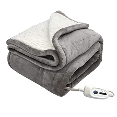 MARQUESS Heated Electric Throw Blanket Flannel & Sherpa Extra Soft, Brushed Long Fur with 4-Setting Heat Controller,3 Hours Auto-Off Washable & Reversible (50x60'', Grey)