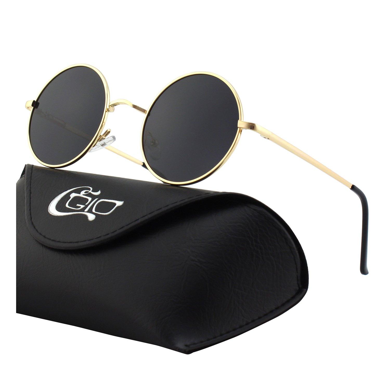 CGID E01 Retro Vintage Style Lennon Inspired Round Metal Circle Polarized Sunglasses for Women and Men 17MJ801-1