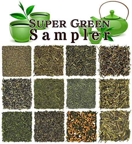 (Loose Leaf Green Tea Sampler - Gunpowder Green Tea, Dragonwell, Genmaicha, Sencha, Young Hyson & More. 12 Exotic Teas from Japan & China, Approx. 180+ Cups)