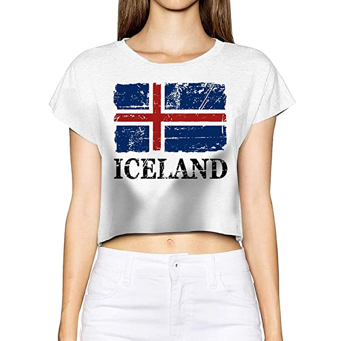 93c961b7a97 Iceland Flag - Vintage Look Women s Crop Tops Summer Short Sleeve T-Shirt  Tops Tee at Amazon Women s Clothing store