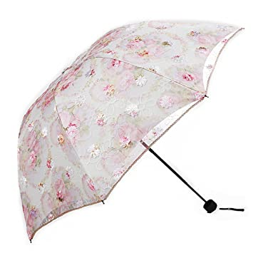 2a7840f78ae8 ManKn Folding Travel Lace Umbrella Compact Windproof Double Layer Sunblock  with Black Anti-UV Coating UPF 50+ for Ladies