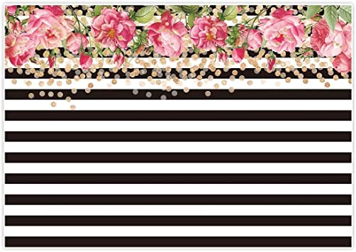Amazon Com Allenjoy 7x5ft Photography Backdrops Black And White Stripe Stripes Watercolor Pink Rose Flower Golden Glitter Circles Banner Birthday Party Event Wedding Bridal Shower Photo Studio Booth Background Camera