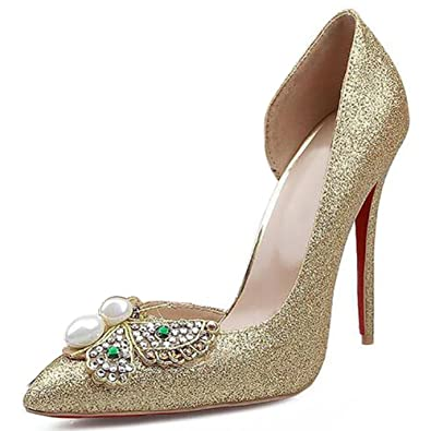 b811d4002515 Women s Gree Pointed Pearl Butterfly Fancy Color Diamonds Hand Made Pump  Bridesmaids Wedding Shoes Banquet GOLD