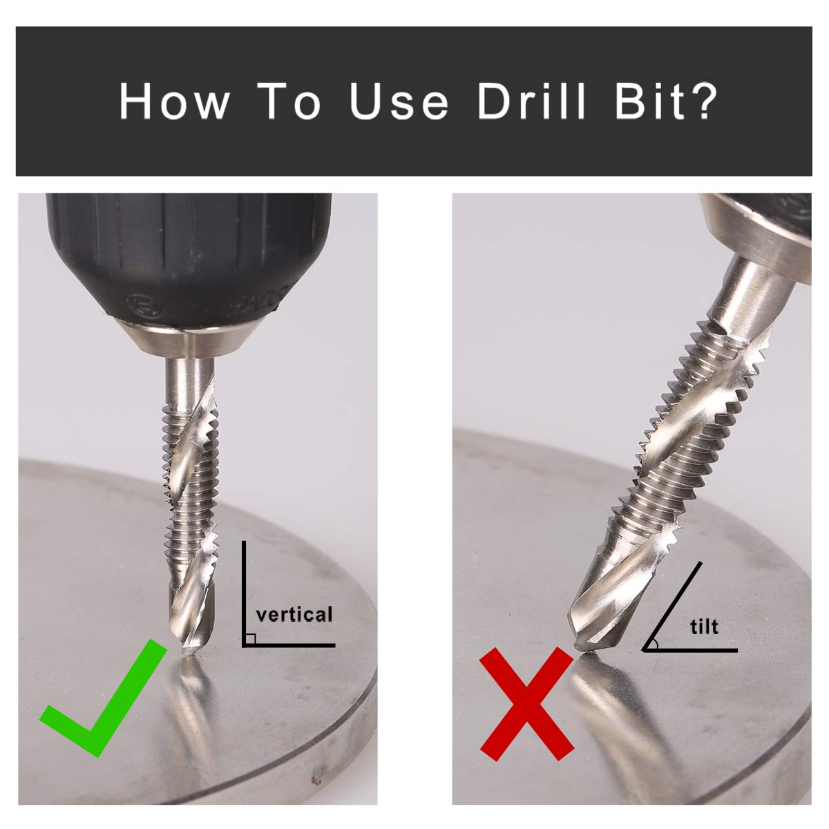 "Deburr Countersink Drill Bit 1//8/""- 3//8/"" 6pcs COMOWARE Combination Drill and Tap Bit Set HSS 4241 with 1//4/"" Hex Shank"