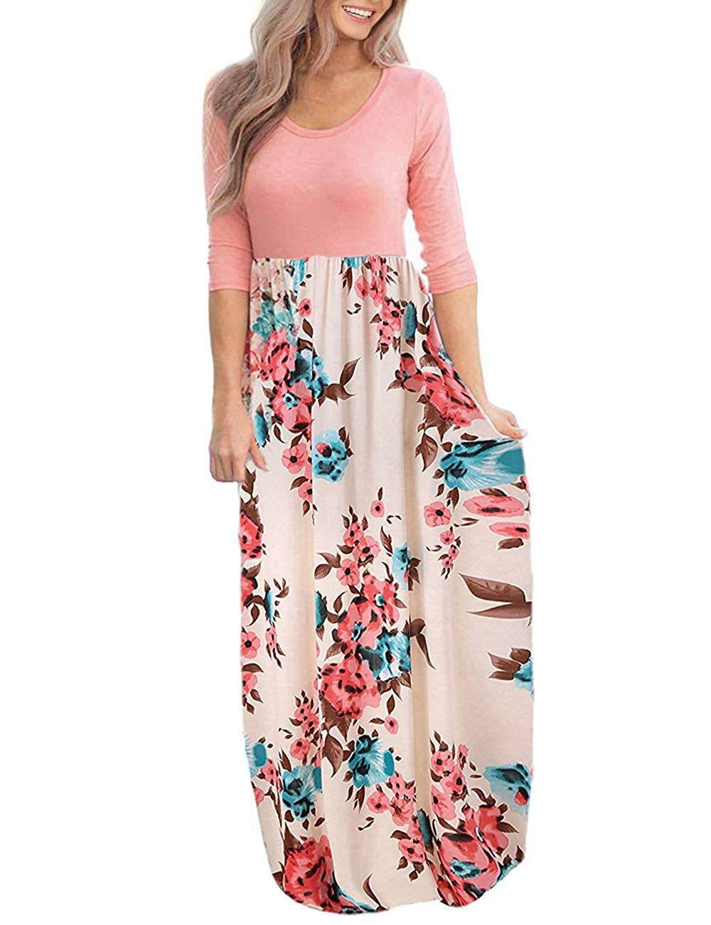 0f8b55bf92 DUNEA Women's Maxi Dress Floral Printed Autumn 3/4 Sleeve Casual Tunic Long  Maxi Dress at Amazon Women's Clothing store: