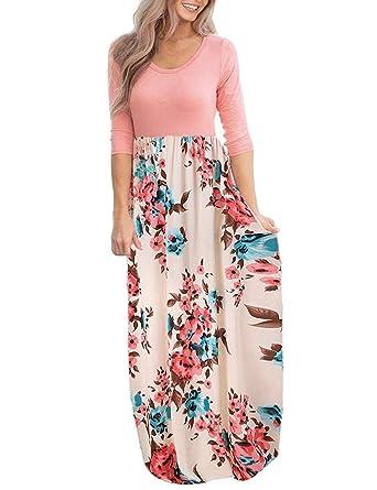 b030340cce DUNEA Women's Maxi Dress Floral Printed Autumn 3/4 Sleeve Casual Tunic Long  Maxi Dress