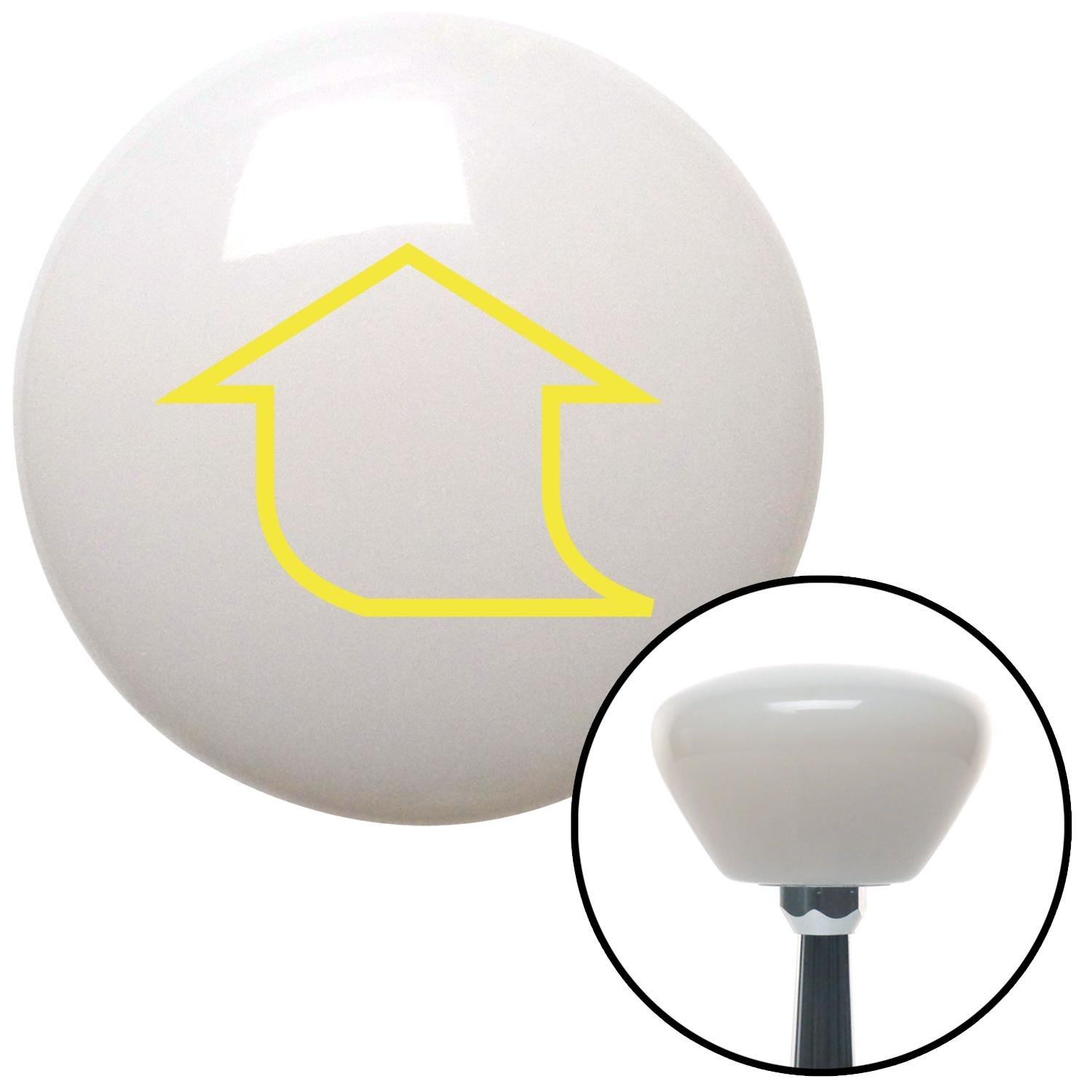 American Shifter 151590 White Retro Shift Knob with M16 x 1.5 Insert Yellow Fat Empty Arrow Up