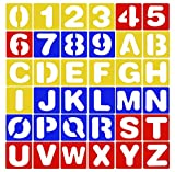 36 Pieces Alphabet and Number Stencils Set for Kids Painting Learning DIY Crafts Creation, A to Z Letter and 0 to 9 Numbers Education Cards Tool, No Art Skills Required
