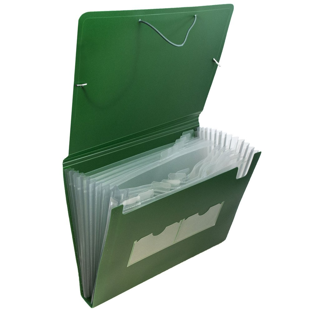JAM Paper Accordion Folders - Plastic 13 Pocket Expanding File - Letter - 9'' x 13'' - Green - 24/pack