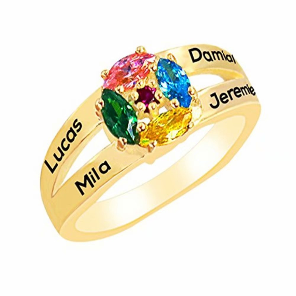 Personalized Family engraved name ring 4 birthstones and 4 names