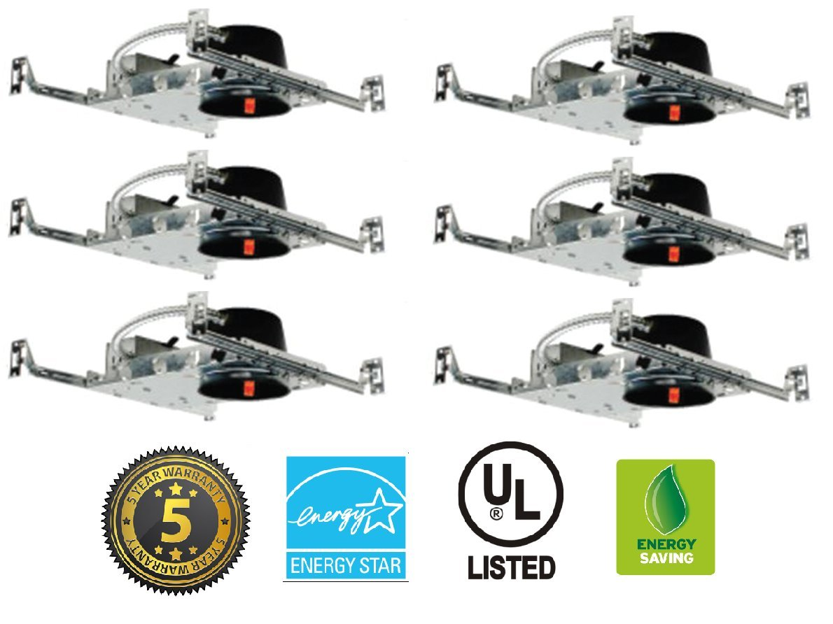 4'' LED New Construction IC Rated Shallow Housing LED Recessed Lighting 6 Pack