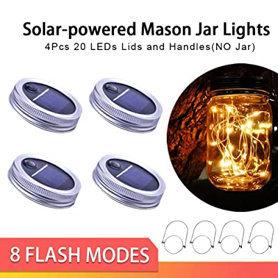 Upgraded Solar Mason Jar Lid Lights, 4 Pack 20 LED Hanging String Lights Solar Lantern Hangers with Metal Handle 8 Lighting Modes String Fairy Lights for Table Outdoor Patios Party Garden Décor Lights